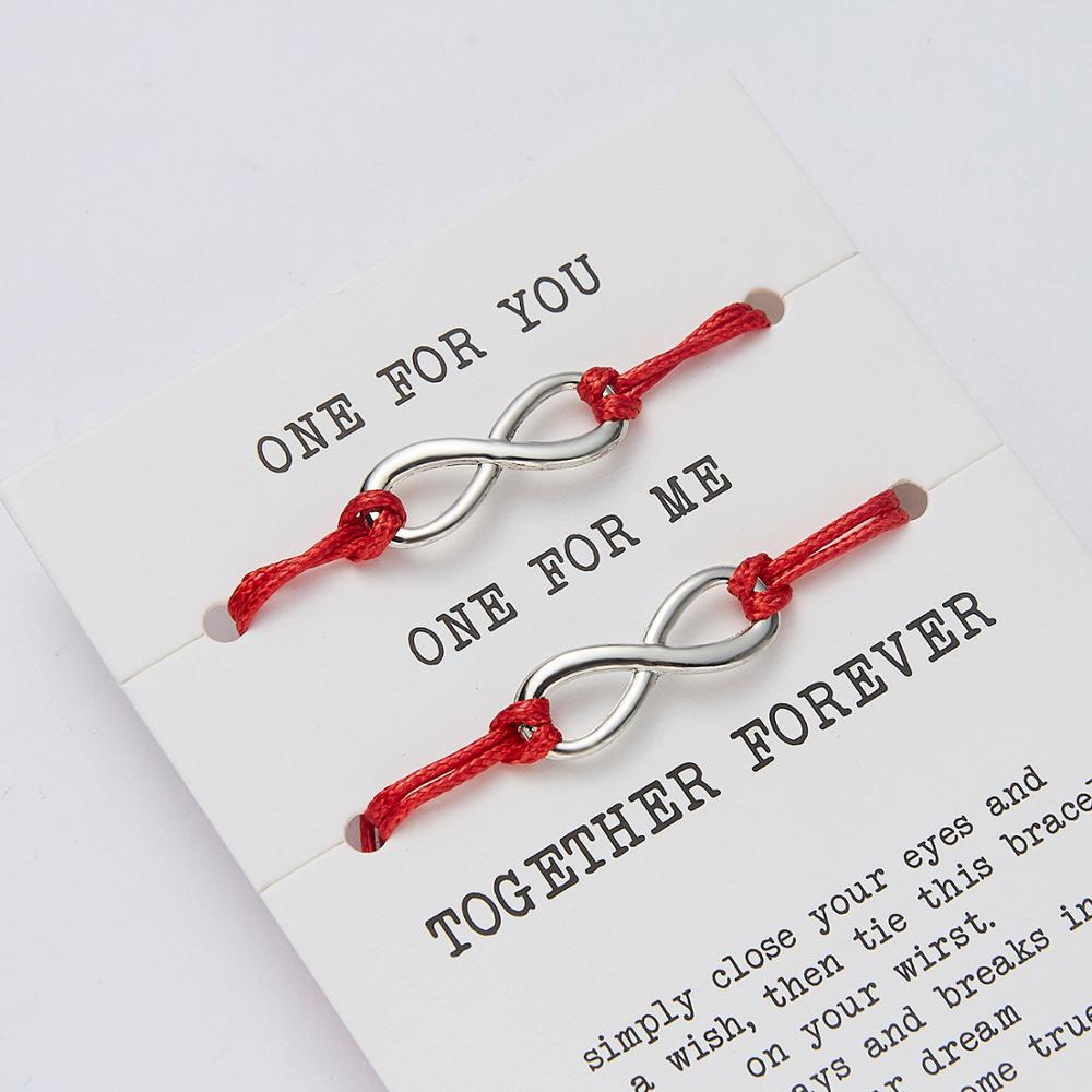 2pcs/set Couple Charm Bracelets Infinity Together Forever Love Crown Cross Red String Bracelets Lovers Best Friends Wish Jewelry