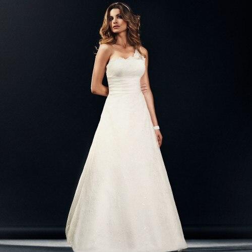 Free Shipping 2017 New Trumpet Dress Wedding Bandage Top Bridal Dresses Shoulder Dress Concise One-shoulder Lace Wedding Dress