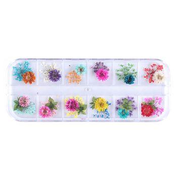 Relleno de resina epoxi y cristal para flores secas, moldes de silicona para manualidades con flores DIY, Material de relleno de resina UV, accesorios de decoración 12 cuadrículas por caja