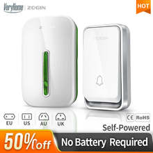 ZOGIN Self Powered Waterproof Wireless DoorBell night light no battery EU plug home Cordless Door Bell 1 2 button 1 2 Receiver