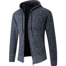 2020 New Cardigan Mens Hooded Collar Fleece Warm Sweaters Coat Men Coat Hoodies Jacket Thick Full  Solid Cardigan Male Coats