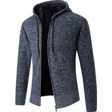 2020 nuevo Cardigan con capucha para hombre Collar de lana suéteres calientes de los hombres sudaderas con capucha chaqueta gruesa totalmente Lisa Cardigan Hombre Abrigos