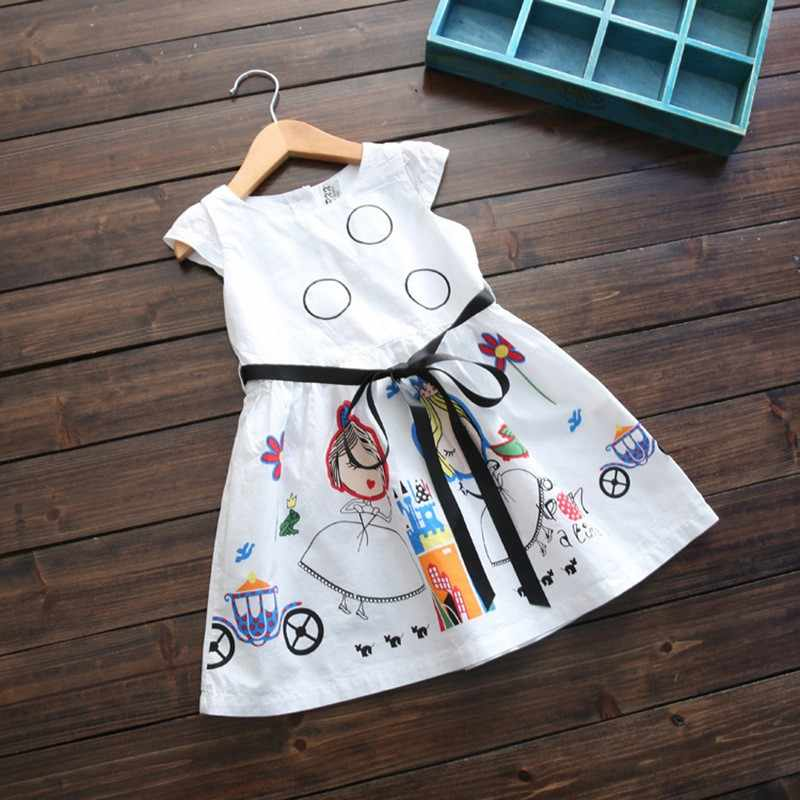 Kızlar yaz elbisesi çocuk giysileri 2019 marka bebek kız elbise Sashes ile Robe Fille karakter prenses elbise çocuk giyim