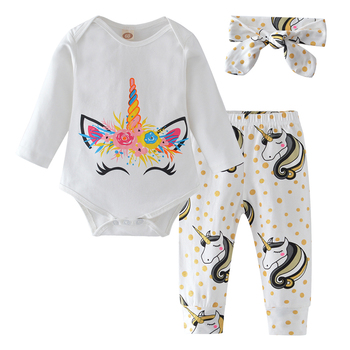 Newborn Infant Baby Girl Clothes Set Cotton Short Sleeve Cartoon Unicorn Romper+Pants+Headband Summer Outfits Toddler Clothing
