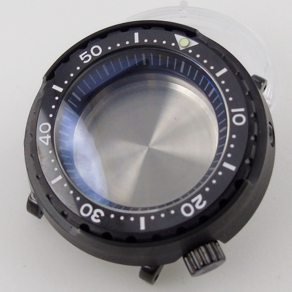 47mm Black PVD Coated Watch Case 20ATM Waterproof fit for NH35A SKX007 SBBN031 Movement Sapphire Glass C3 lume dot ceramic bezel