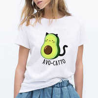 LUCKYROLL Avocado Cat Pattern T Shirt Women Harajuku Vegan Cute Tops Plus Size S-3XL T-shirt Tee Tops
