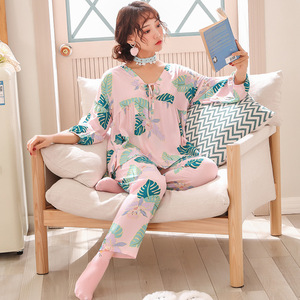 Image 2 - Lisacmvpnel 9 Phần Tay Bộ Đồ Ngủ Nữ Bộ Đồ Cotton Lụa V Dẫn Ngọt Pyjamas