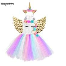 Robe licorne Cosplay Tutu pour filles en maille florale, Costume licorne avec bandeau, tenue de purge dhalloween pour fête danniversaire denfants