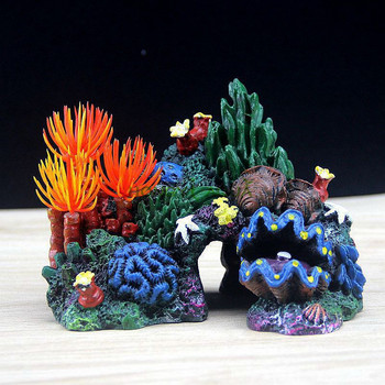 Fish tank landscaping background Package Coral conch shell rockery Resin water grass fake tree Aquarium decoration Supplies aquarium resin decoration bridge pavilion tree rockery fish tank decoration accessories micro landscape bridge craft