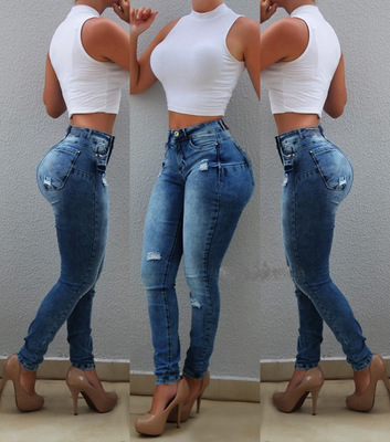 Women High Waist Stretch Denim Jeans Butt Lift Pencil Pants Ladies Skinny Jean S-XXL