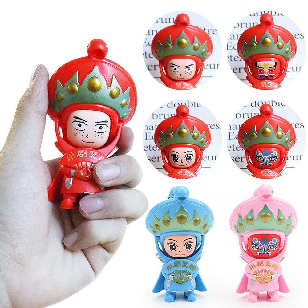 Sichuan Face Changing Doll Toys For Children Peking Opera Doll Silicone Traditional Chinese Folk Craftwork Kids Ornaments Toys image