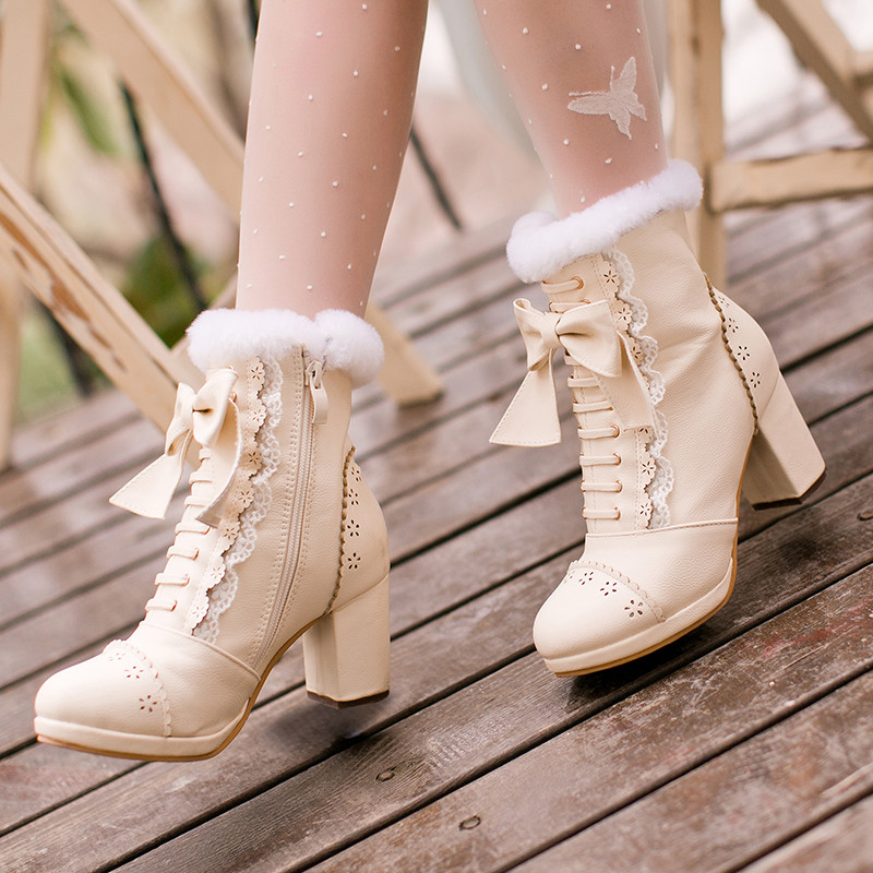 Fashion Side Zipper Platform Thick High Heel Boot Plus Size 40 <font><b>Lolita</b></font> <font><b>Shoes</b></font> Woman Ankle Boots Sweet Lace Bow Princess Snow Boots image