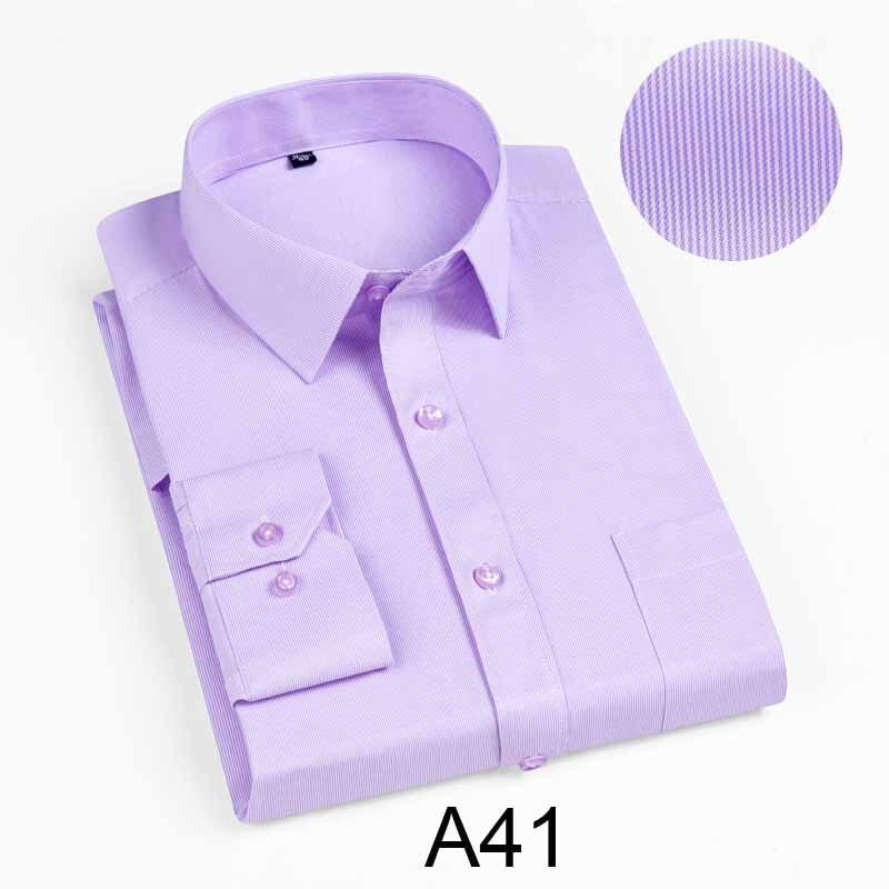New 2019 Autumn Men Shirt Plus Size Slim Fit 45% Cotton Plaid Men Dress Shirts Regular Long Sleeve Men's Business Casual Shirt 3