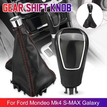 Leather Car Automatic Transmission Gear Shift Knob Shifter Stick Lever Gear Gaiter Boot Cover For Ford/Mondeo Mk4 S-MAX/Galaxy