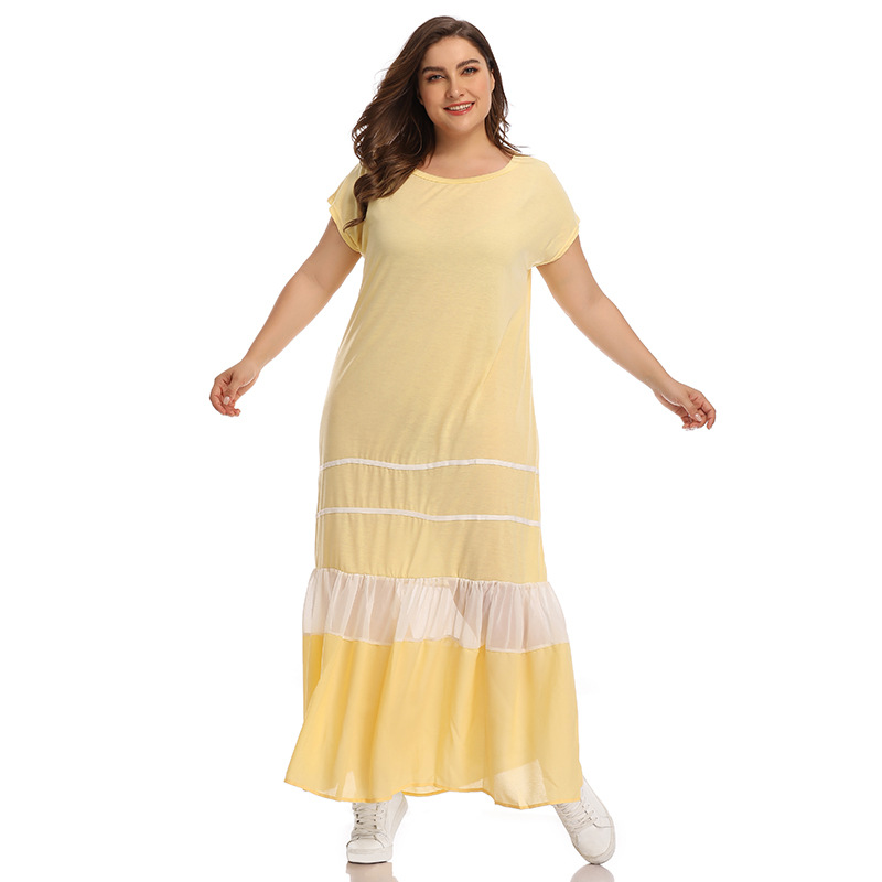 020 Europe And America Large Size Dress New Style Loose Casual Pleated Crew Neck Short Sleeve Light Blue Long Dress