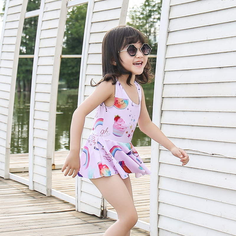 Korean-style New Style Baby Swimsuit Baby Pink Parrot One-piece Children Sun-resistant Quick-Dry Girls Hot Springs Swimwear