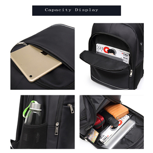 Image 3 - Charging USB teens School Bags for Teenage Boys Backpack men nylon black solid High Quality student SchoolBag Preppy Style