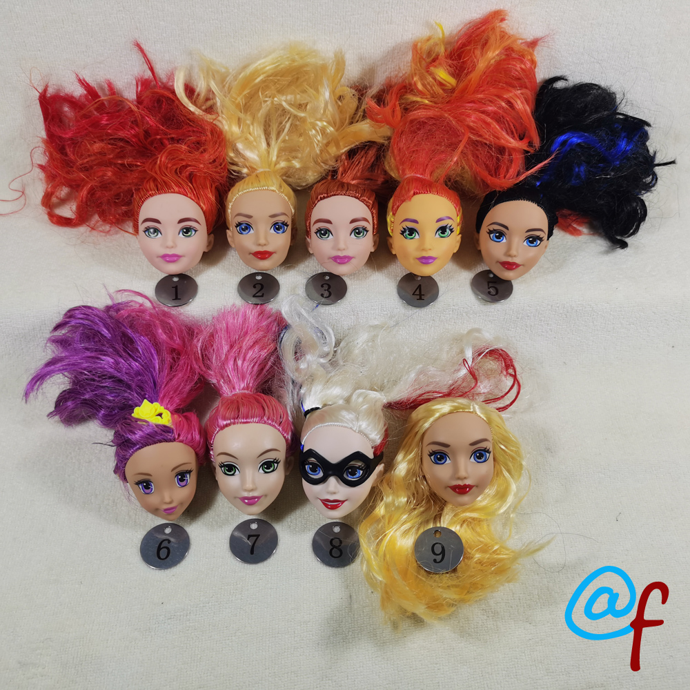 B21-2 Original Foreign Trade Animation BIG Round Face Beauty 1/6 Or 1/5 OOAK NUDE Doll Head Mussed Hair For DIY 90%new