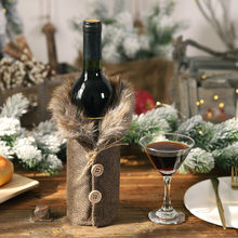 Christmas Table Wine Bottle Decoration Striped Plaid Skirt Wine Bottle Set Wine Set For Various Specifications Red Wine Bottle(China)