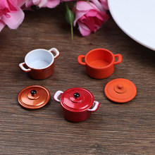 Mini Pan Alloy Doll house Kitchen Accessories Doll House Miniatures 1:12 Accessories Mini Kitchenware Miniature Hot Pot(China)