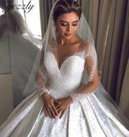 Luxury O neck Ball Gown Crystal Diamond Satin Wedding Dress Long Sleeves Lace Plus Size Arabic Wedding Dress Vestido Novia W209