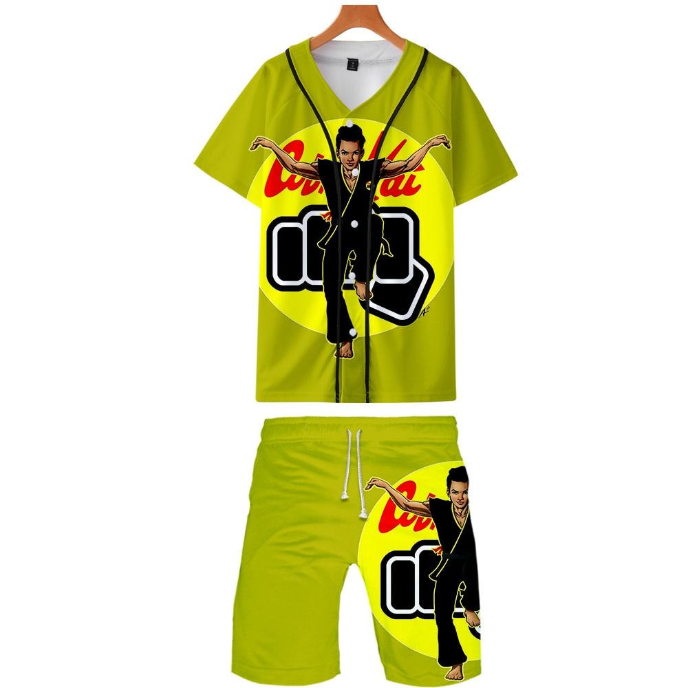 2019 Cobra Kai Two Piece Set Jackets And Shorts Kpop Fashion New Cool Print Cobra Kai Baseball Jacket Set For Men Streetwear
