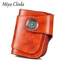 MIYA CLODA New  Luxury wallet men's retro handmade cowhide wallet men's short vegetable tanned leather Japanese wallet