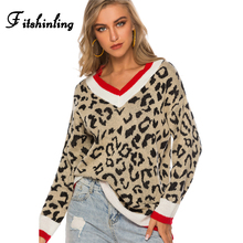 Fitshinling Leopard V Neck Sweater Autumn Winter Pullovers Knitwear Boho Casual Slim Jumper Sweaters For Women Clothing 2019 New