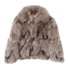 купить Women's Real Fox Fur coat with Big fur hood Winter Reversible Fur Parka Natural Fox Jacket дешево