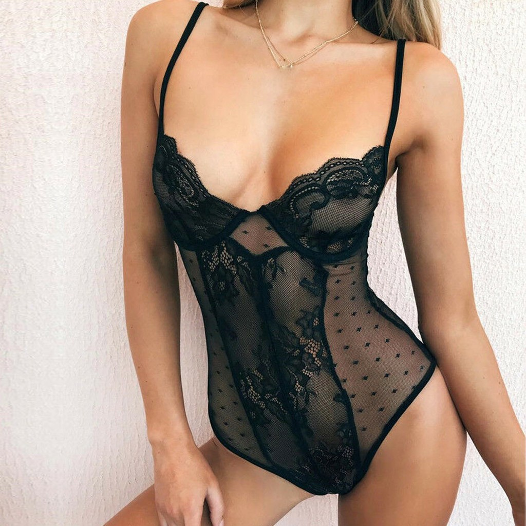 New Women Lingerie Femme Sexy Erotic Transprent Hot Porno Lace Bodysuit Pyjamas Romper Tops Jumpsuit Sleepwear Underwear Mujer