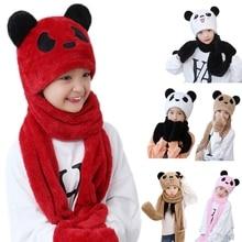 Toddler Kids Baby Winter 3 In 1 Hat Long Scarf Gloves Set Cute Panda Animal Ears Thicken Fuzzy Plush Hoodie Earflap Cap