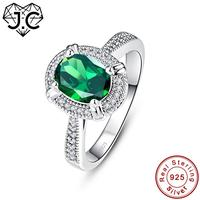 J.C Oval Cut Ruby Sapphire Emerald 925 Sterling Silver Ring Size 6 7 8 9 Women Wedding Exquisite Fine Jewelry Gift
