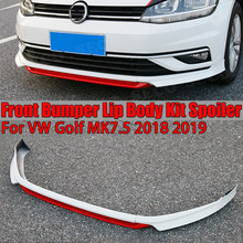 3 pçs/set abs colorido frente spoiler pára avental para vw volkswagen golf mk7.5 padrão 2018 2019 não para gti estilo do carro