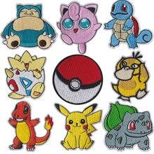 Pokemon pano remendo pikachu roupas adesivos costurar em bordado remendos applique ferro na roupa dos desenhos animados diy vestuário decoração