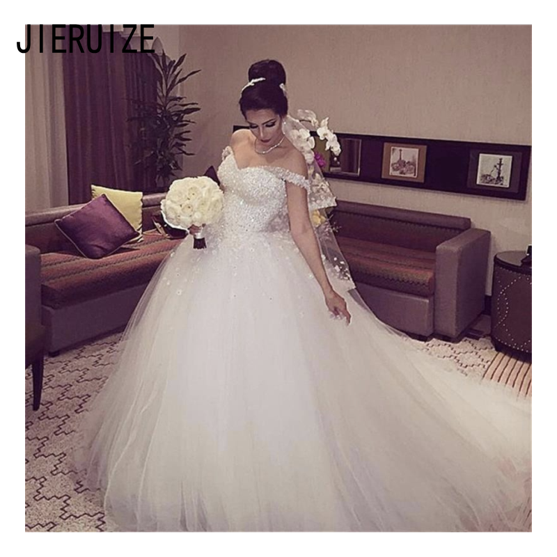 JIERUIZE Shiny Ball Gown Wedding Dresses Off Shoulder Sleeveless Lace Up Hand Made Flowers Bride Wedding Gowns Vestidos De Noiva