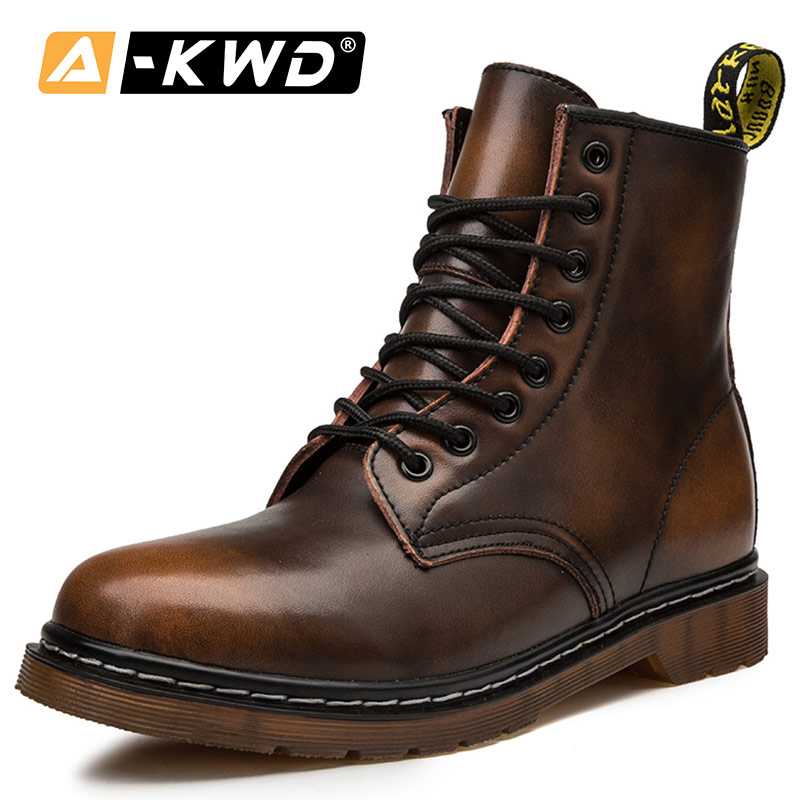 Fashion Men Winter Boots Black Brown Wine-Red Leather Man Boots Shoes Autumn Single Men Boots Couple Lace-up Ankle Booties 35-48