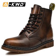 Fashion Men Winter Boots Black Brown Wine-Red Leather Man Shoes Autumn Single Couple Lace-up Ankle Booties 35-48