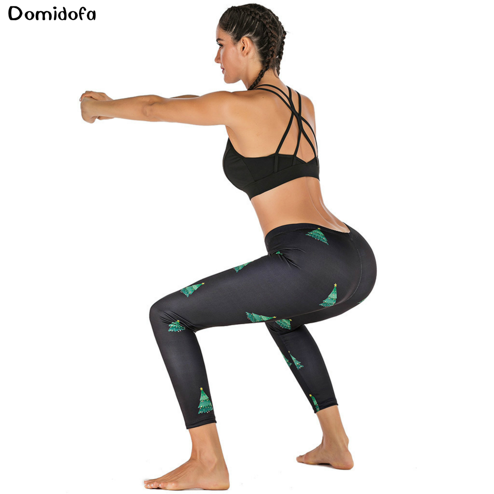 2019 New Christmas tights Christmas tree print leggings gym women sport tights women 39 s quick drying elastic tight pants in Yoga Pants from Sports amp Entertainment