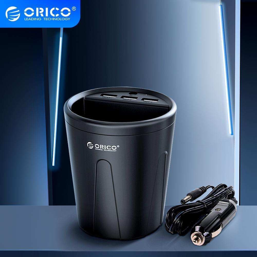 ORICO 3 USB Car Charger Cup 36W Fast Car-charger Power Socket Adapter Cigarette Lighter Splitter with Card Holder Slot