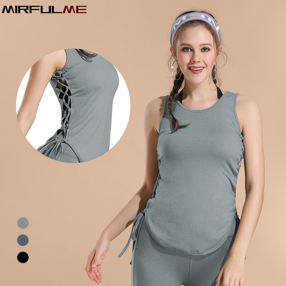 Womens Workout Tank Top T-shirt-Gym Clothes Fitness Yoga Hollow Out VEST Blouse