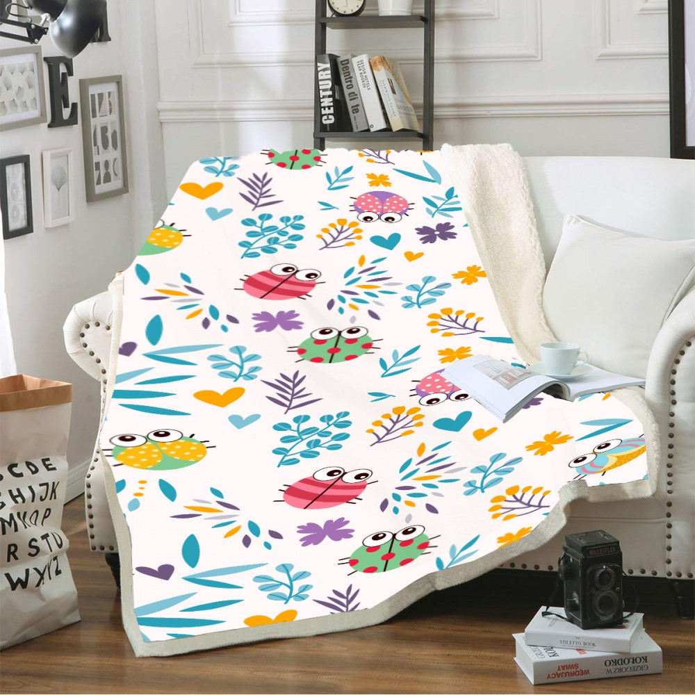 Cartoon Insect Floral Plants Blanket for Kid Butterfly Animals Sherpa Fleece Blanket Sofa Warm Thick Blanket Winter Home Blanket