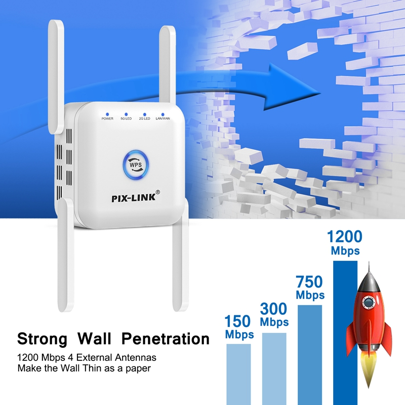 5G Wifi Repeater 5ghz Repeater Wifi 1200M Router Wifi Extender Long Range 2.4G Wi Fi Booster Wi-Fi Signal Amplifier Access Point 4