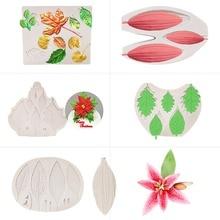 Lily Buds Flower Petal Leaf Silicone Mold Fondant Cake Molds Cupcake Mould Gumpaste Decorating Tools Sugarcraf