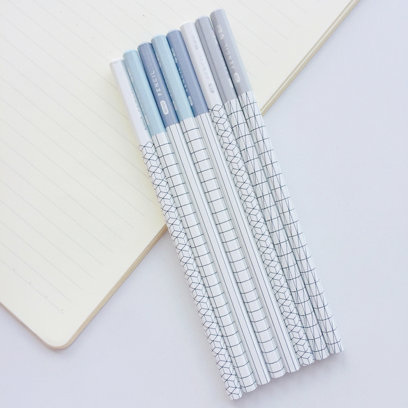 4X Simple Grids Striped 2B Standard Wooden Pencil Student Stationery