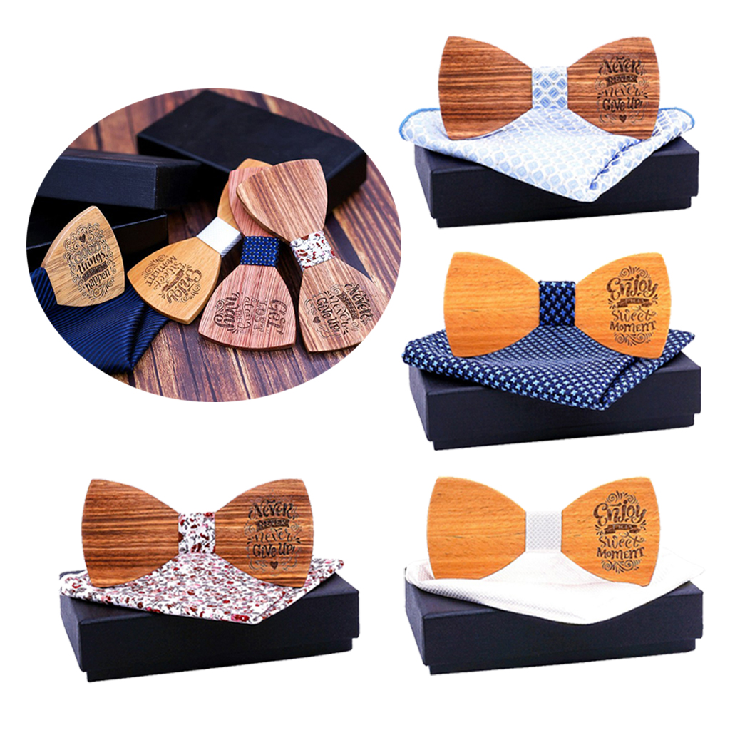 Handmade Wooden Tie Bow Tie Creative Men Handcrafted For Wedding Party 2x5.2cm