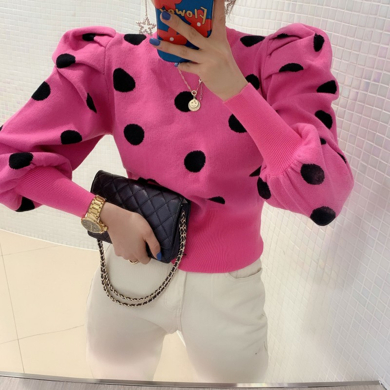 Korean Puff Sleeve Pullover Knitwear 2020 Spring Autumn Women Polka Dot Winter Top Knitted O-Neck Sweater Woman Bottom Jumper