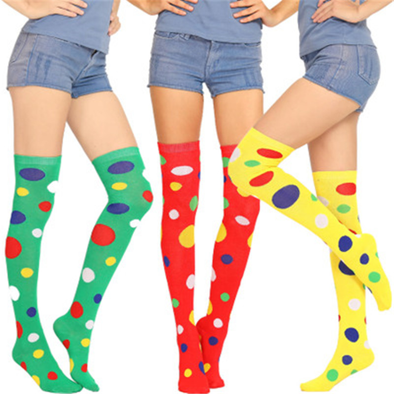 Fashion Polka Dot Colorful Women's Stockings Clown Funny Long  Thigh High Socks Women Cotton Sexy Compression Over Knee Socks