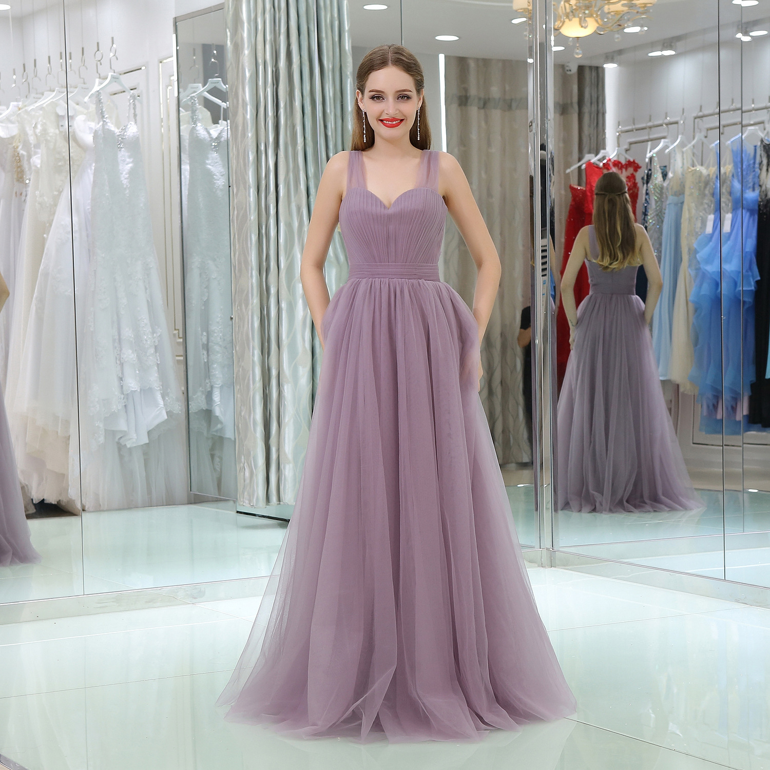 Sexy V-neck Backless A Line Evening Dressses Long Mother Of The Bride Dresses Formal Dress Women Elegant Gala Gowns Custom Dress