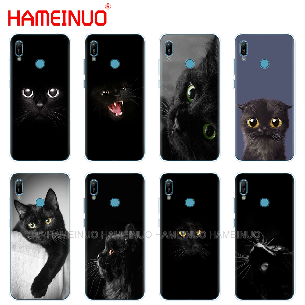 silicon phone cover <font><b>case</b></font> for <font><b>huawei</b></font> Y5 Y6 <font><b>Y7</b></font> Y9 PRO PRIME <font><b>2019</b></font> honor 8s 8a 20 LITE PRO 10i view 20 V20 Black <font><b>Cat</b></font> Staring Eye On image