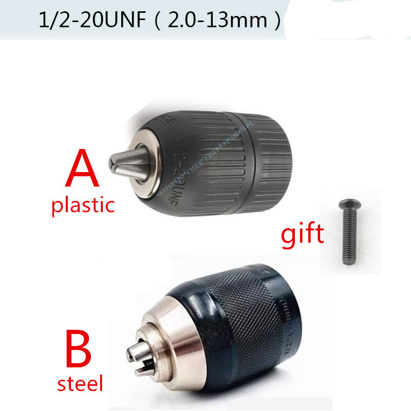 2-13mm Chuck Keyless 1/2 X 20UNF Bit  Lock Adaptor For BOSCH MAKITA HITACHI DeWALT Ryobi Milwaukee Black&Decke METABO Ridgid